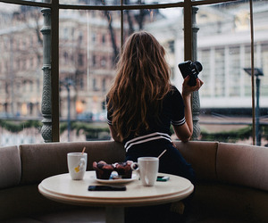 cafe, camera, and girl image