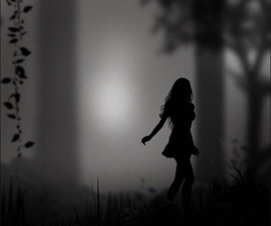 girl, dark, and forest image