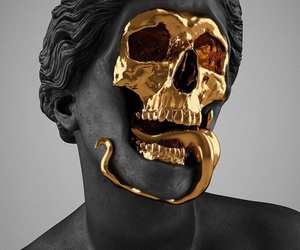 art, gold, and skull image