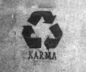 karma and black and white image