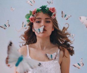 butterfly, girl, and flowers image
