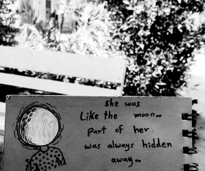 b&w, moon, and quote image