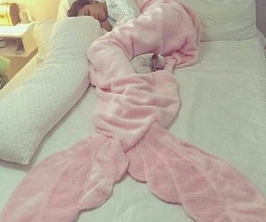 bed, mermaid, and pink image