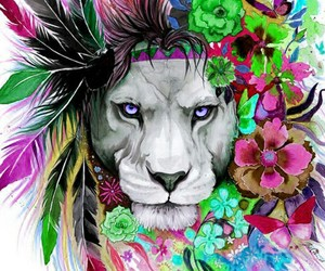 design, girl, and lion image