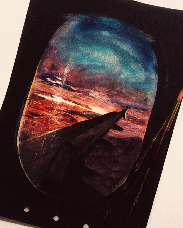 art, sunset, and wings image