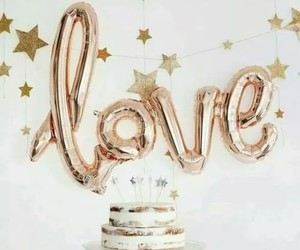cake, love, and balloons image
