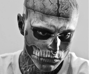 tattoo, black and white, and zombie boy image