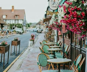 flowers, france, and cafe image