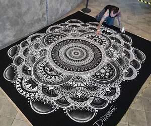 artist, black and white, and mandala image