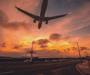 plane, sunrise, and travel image