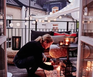 light, balcony, and candle image