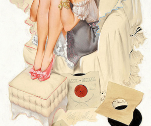 illustration, music, and pinup image