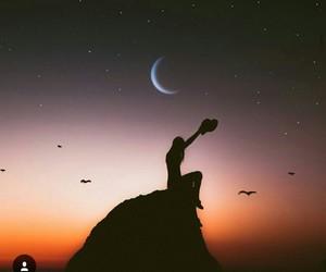 bird, girl, and moon image