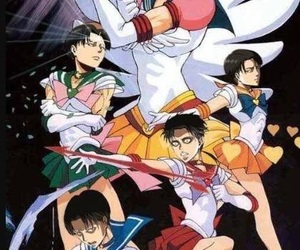 levi, snk, and sailor moon image