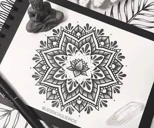 art, black and white, and boho image