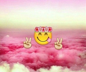emoji, pink, and wallpaper image