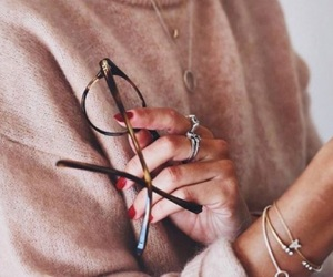 black, glasses, and jewelry image