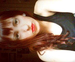 girl, redhead, and red lips image