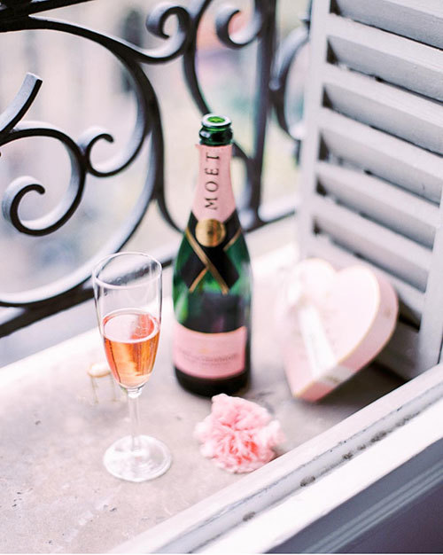 champagne, flowers, and pink image