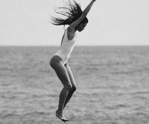 summer, girl, and black and white image