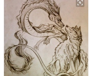 dragon, wolf, and art image