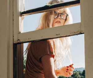 blonde, window, and girl image