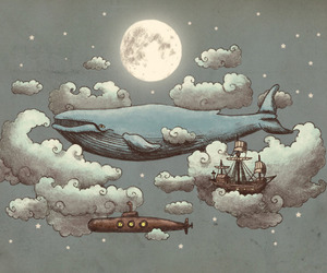 whale, moon, and sky image