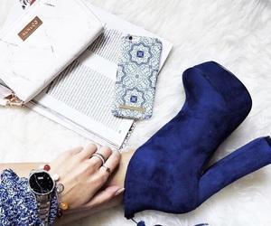 blue, heels, and magazine image