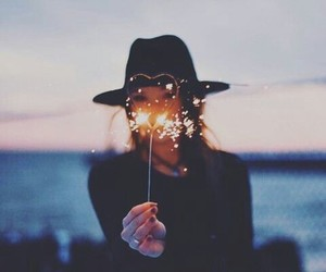 girl, light, and heart image