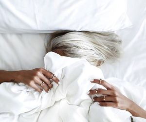 white, hair, and bed image