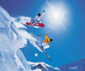 snowboard, snow, and ski image