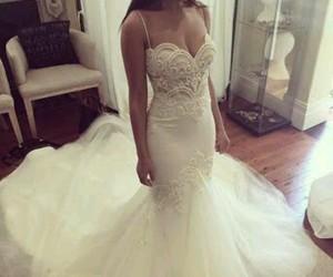 dress, mermaid, and wedding image