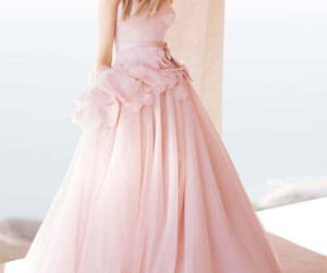 wedding dress, pink, and dress image