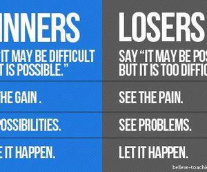 winner, loser, and motivation image