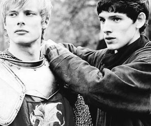merlin, black and white, and bradley james image