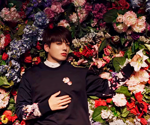 bts, jungkook, and flowers image