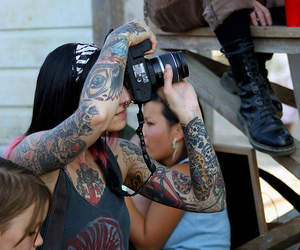 camera, Tattoos, and girl image