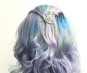 moon, blue hair, and curls image