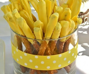 polka dots, snacks, and yellow image