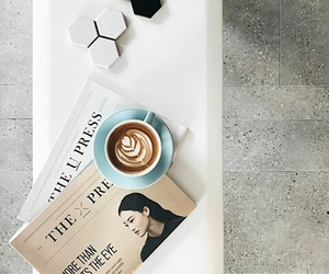 magazines, cafe, and coffee image