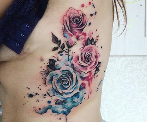 rose, tattoo, and watercolor image