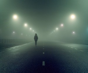 road, fog, and light image