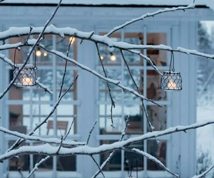 winter, candle, and snow image