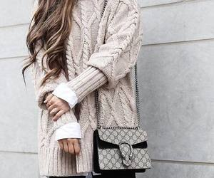 gucci bag and chunky sweater outfit image