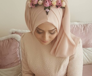 fashion, hijab, and wedding dress image