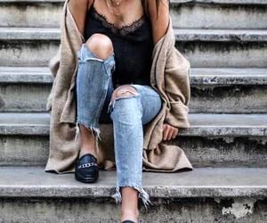 slip on shoes and off shoulder blouse image