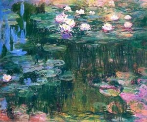 art, water, and water lilies image