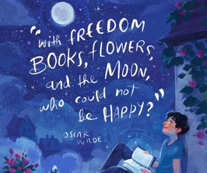 book, moon, and flowers image