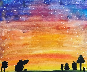 watercolor, art, and sunset image
