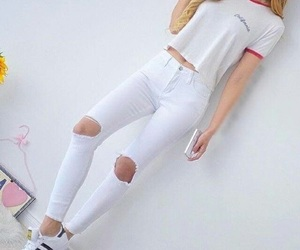 blondie, jeans, and white image